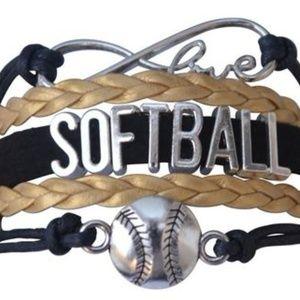 Girls Softball Bracelet - Black & Gold